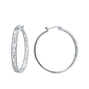 Belk Sterling Silver Filigree Hoop Earrings